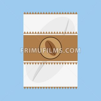 A white and brown fabric with a coffee bean logo and triangles, in outlines, over a blue background, digital vector image - frimufilms.com