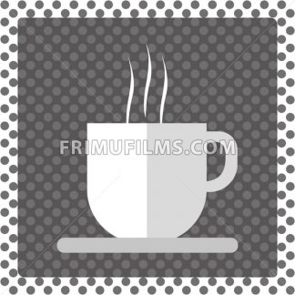 A white cup of hot coffee with foam and steam in outlines, over a silver background with dots and a frame, digital vector image - frimufilms.com