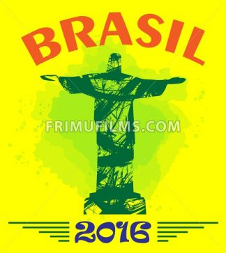 Abstract Brasil 2016 design with statue over yellow background. Digital vector image - frimufilms.com