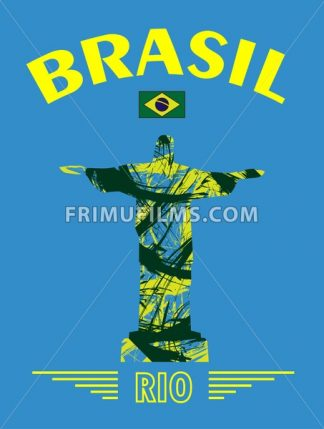 Abstract Brasil and rio design with statue over blue background. Digital vector image - frimufilms.com
