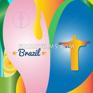 Abstract Brazil and statue design over colored background. Digital vector image - frimufilms.com