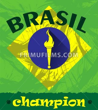 Abstract Brazil champion design with burning flame logo. Digital vector image - frimufilms.com