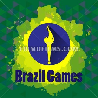 Abstract Brazil games design with burning flame logo on blue circle. Digital vector image - frimufilms.com