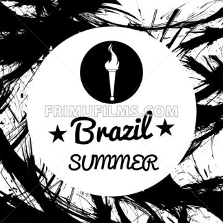 Abstract Brazil summer design with burning flame logo in a circle, in black outlines. Digital vector image - frimufilms.com