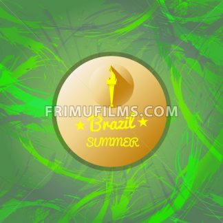 Abstract Brazil summer design with burning flame logo in a circle over green background. Digital vector image - frimufilms.com