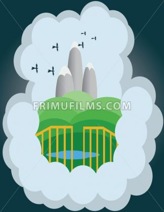 Abstract cloud illustration with silver mountains, green hills and birds flying. Digital vector image - frimufilms.com