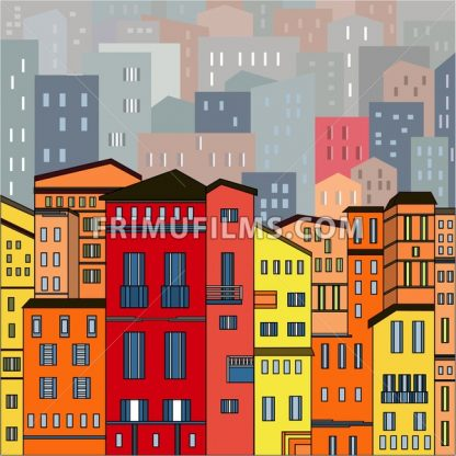 Abstract colored city view in outlines with many houses and buildings as a single piece. Cartoon style. Digital vector image. - frimufilms.com