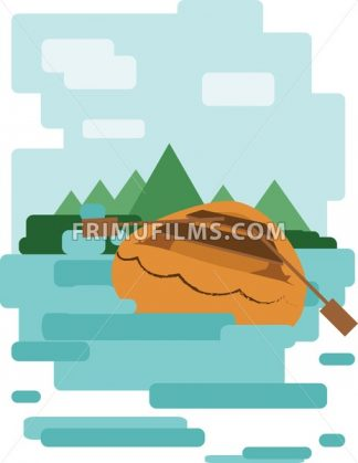 Abstract design with a wooden boat on the water leading to an island, back view, flat style. Digital vector image. - frimufilms.com