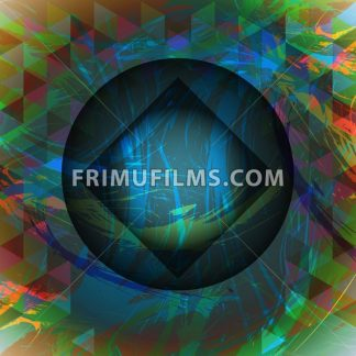 Abstract design with big circle, square and colored triangles. Digital vector image - frimufilms.com