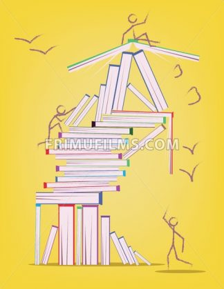 Abstract design with many books and stick figures moving around. Learning and education concept. Digital vector image. - frimufilms.com