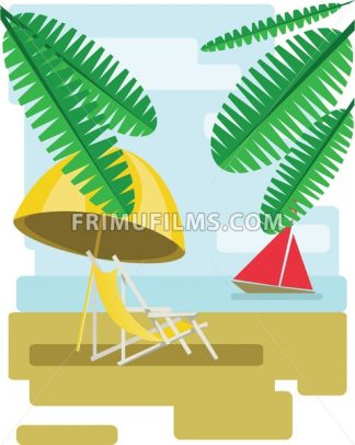 Abstract design with palm leaves, sand, beach umrella and chair and view to the sea with a red boat. Digital vector image - frimufilms.com