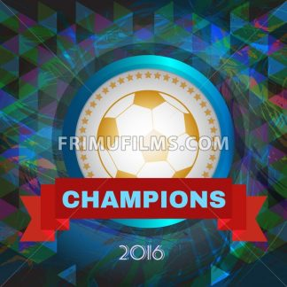 Abstract football and soccer infographic, champions 2016, a playing ball and red ribbon. Digital vector image - frimufilms.com