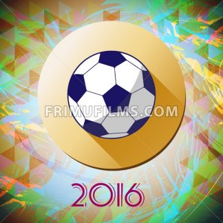 Abstract football and soccer infographic, champions 2016, a playing ball and yellow circle. Digital vector image - frimufilms.com