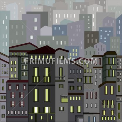 Abstract gray city view in outlines with many houses and buildings as a single piece at night with lights. Cartoon style. Digital vector image. - frimufilms.com