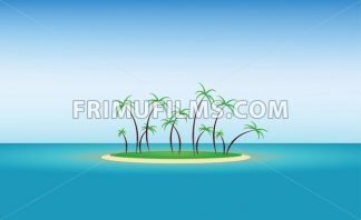 Abstract island design with green palm trees and blue water. Digital vector image - frimufilms.com
