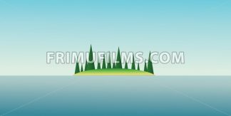 Abstract island design with green trees and blue water. Digital vector image - frimufilms.com
