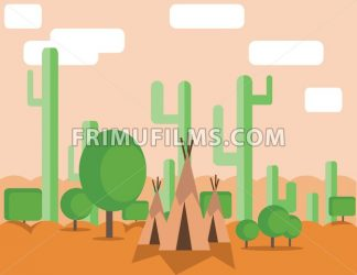 Abstract landscape design with green cactus trees, clouds and indian tents in the desert, flat style. Digital vector image. - frimufilms.com