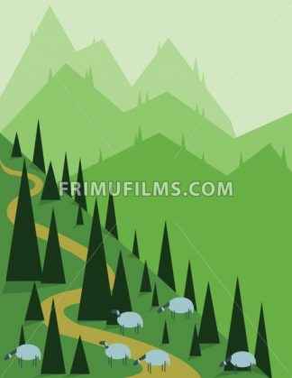 Abstract landscape design with green pine, hills and fog, sheeps on fields, flat style. Digital vector image. - frimufilms.com
