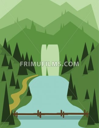 Abstract landscape design with green trees, a bridge and flowing river, view to mountains, flat style. Digital vector image. - frimufilms.com