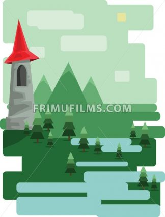 Abstract landscape design with green trees and clouds, a castle in the mountains and a lake, flat style. Digital vector image. - frimufilms.com