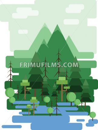 Abstract landscape design with green trees and clouds, a forest and a lake, flat style. Digital vector image. - frimufilms.com