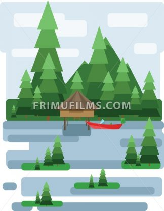 Abstract landscape design with green trees and clouds, a house and a boat on a lake, flat style. Digital vector image. - frimufilms.com