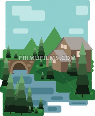 Abstract landscape design with green trees and clouds, a house and a bridge near a lake, flat style. Digital vector image. - frimufilms.com