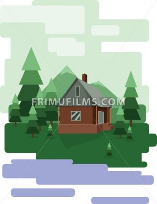 Abstract landscape design with green trees and clouds, a house in the forest and a lake, flat style. Digital vector image. - frimufilms.com