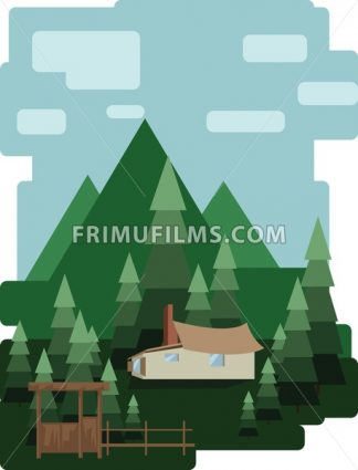 Abstract landscape design with green trees and clouds, a house in the forest, flat style. Digital vector image. - frimufilms.com