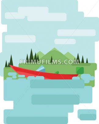 Abstract landscape design with green trees and clouds, a red boat on a lake, flat style. Digital vector image. - frimufilms.com