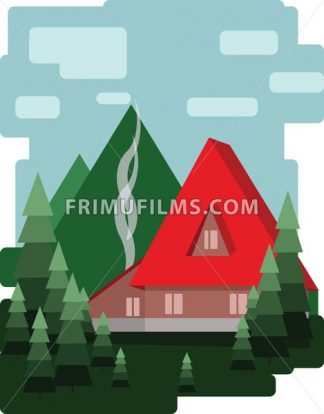 Abstract landscape design with green trees and clouds, a red house with smoke, flat style. Digital vector image. - frimufilms.com