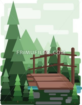 Abstract landscape design with green trees and clouds, a wooden bridge in the forest and a lake, flat style. Digital vector image. - frimufilms.com