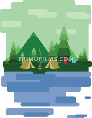 Abstract landscape design with green trees and clouds, tents in the forest and a lake, flat style. Digital vector image. - frimufilms.com