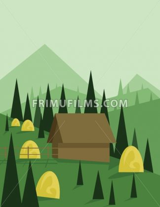 Abstract landscape design with green trees and hills, a brown house in the mountains and yellow hay, flat style. Digital vector image. - frimufilms.com