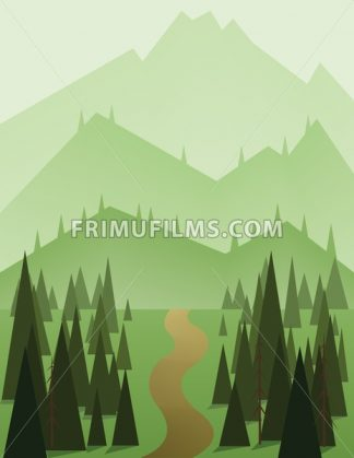 Abstract landscape design with green trees and hills, a brown road and view to mountains, flat style. Digital vector image. - frimufilms.com