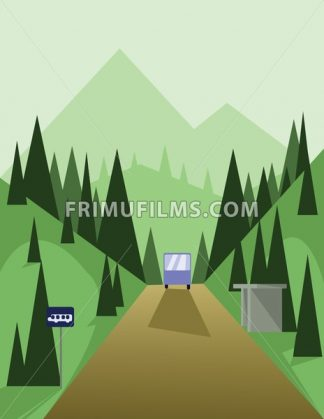 Abstract landscape design with green trees and hills, a brown road and view to mountains with a bus at a station, flat style. Digital vector image. - frimufilms.com