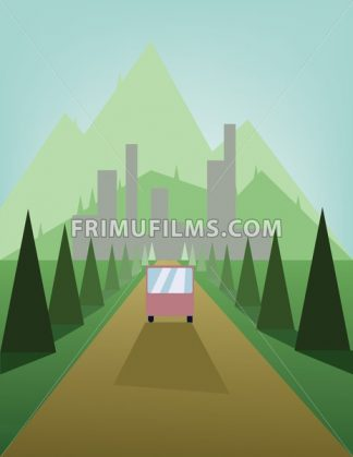Abstract landscape design with green trees and hills, a brown road with a bus and view to mountains and the city, flat style. Digital vector image. - frimufilms.com