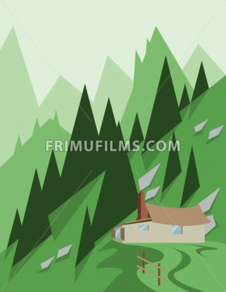 Abstract landscape design with green trees and hills, a house in the mountains, flat style. Digital vector image. - frimufilms.com