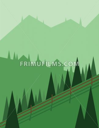 Abstract landscape design with green trees and hills, houses in the mountains and a fence, flat style. Digital vector image. - frimufilms.com