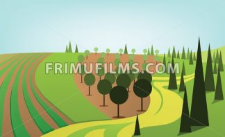 Abstract landscape design with green trees and hills, yellow road and orchard, flat style. Digital vector image. - frimufilms.com