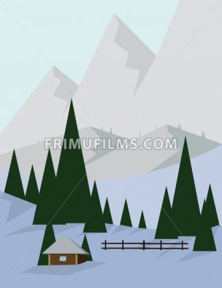 Abstract landscape design with green trees and silver mountains, a house in the forest and snow, flat style. Digital vector image. - frimufilms.com