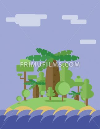 Abstract landscape design with green trees, clouds and ocean waves ion an island, flat style. Digital vector image. - frimufilms.com