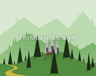 Abstract landscape design with green trees, hills and fog, a cart near silver mounds, flat style. Digital vector image. - frimufilms.com