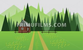 Abstract landscape design with green trees, hills and fog, a house and a road with yellow flowers on fields, flat style. Digital vector image. - frimufilms.com