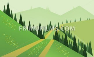Abstract landscape design with green trees, hills and fog, a road and yellow flowers on fields, flat style. Digital vector image. - frimufilms.com