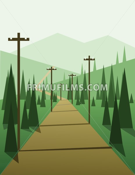 abstract landscape design with green trees, hills and fog