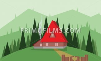 Abstract landscape design with green trees, hills and fog, big red house with wooden gate, flat style. Digital vector image. - frimufilms.com