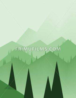 Abstract landscape design with green trees, hills and fog, flat style. Digital vector image. - frimufilms.com