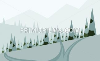 Abstract landscape design with green trees, hills and snow, a road in winter pine forest, flat style. Digital vector image. - frimufilms.com