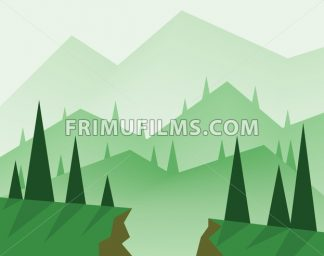 Abstract landscape design with green trees, hills, fog and a chasm, flat style. Digital vector image. - frimufilms.com